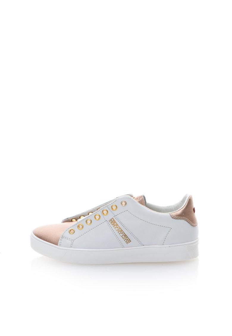 Napapijri Pantofi slip-on albi cu auriu rose de piele Minna