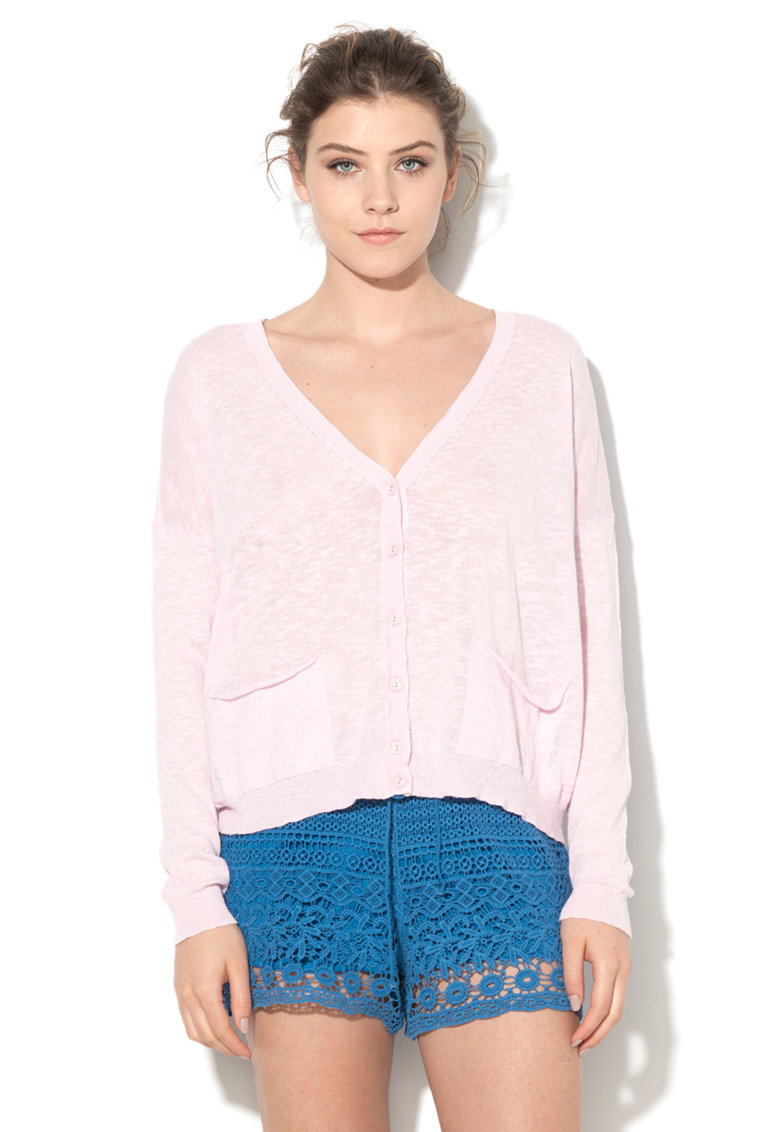 United Colors Of Benetton Cardigan roz deschis tricotat fin cu buzunare