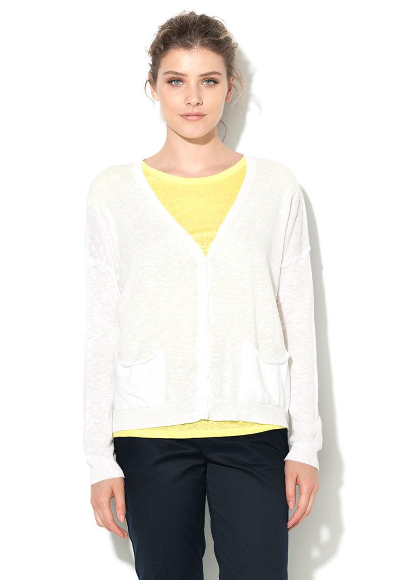 United Colors Of Benetton Cardigan alb tricotat fin cu buzunare