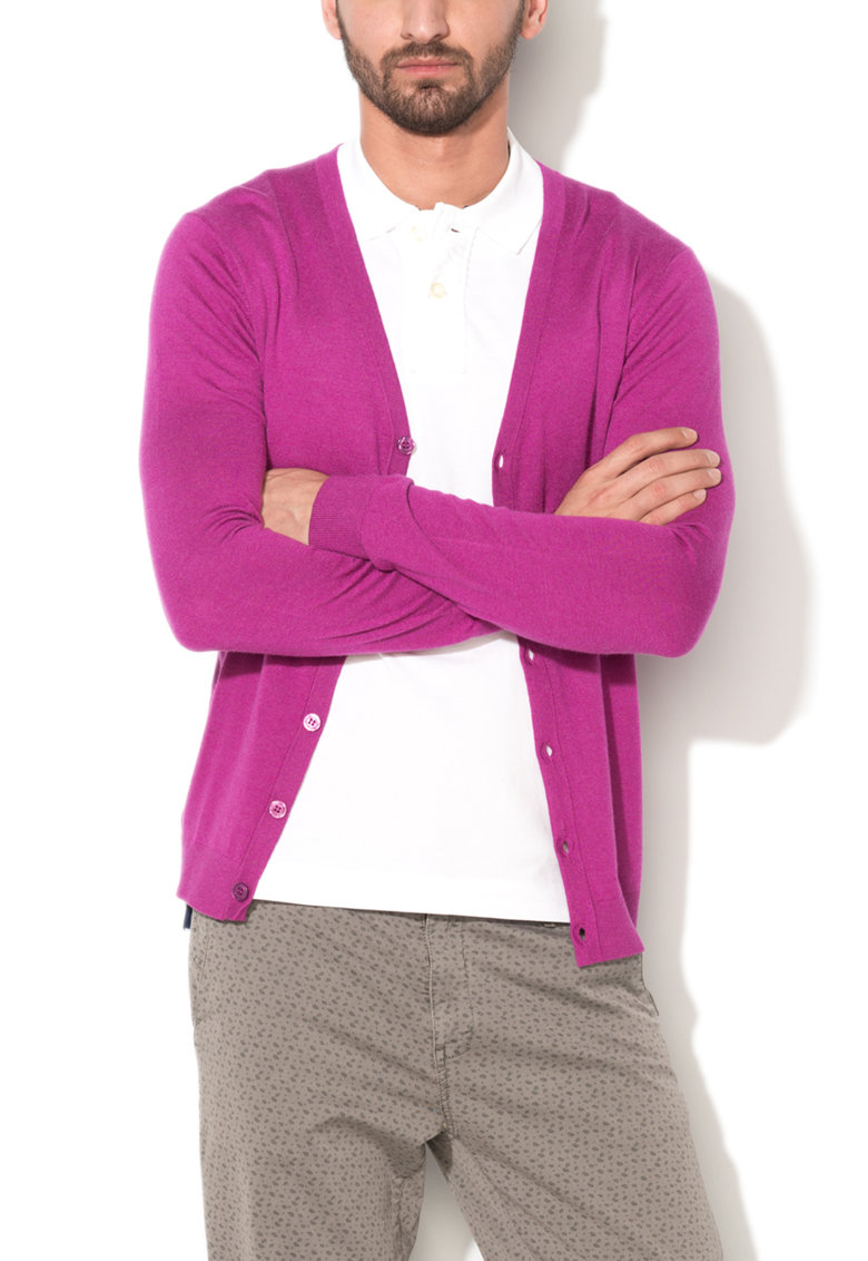 United Colors Of Benetton Cardigan slim fit violet tyrian de jerseu