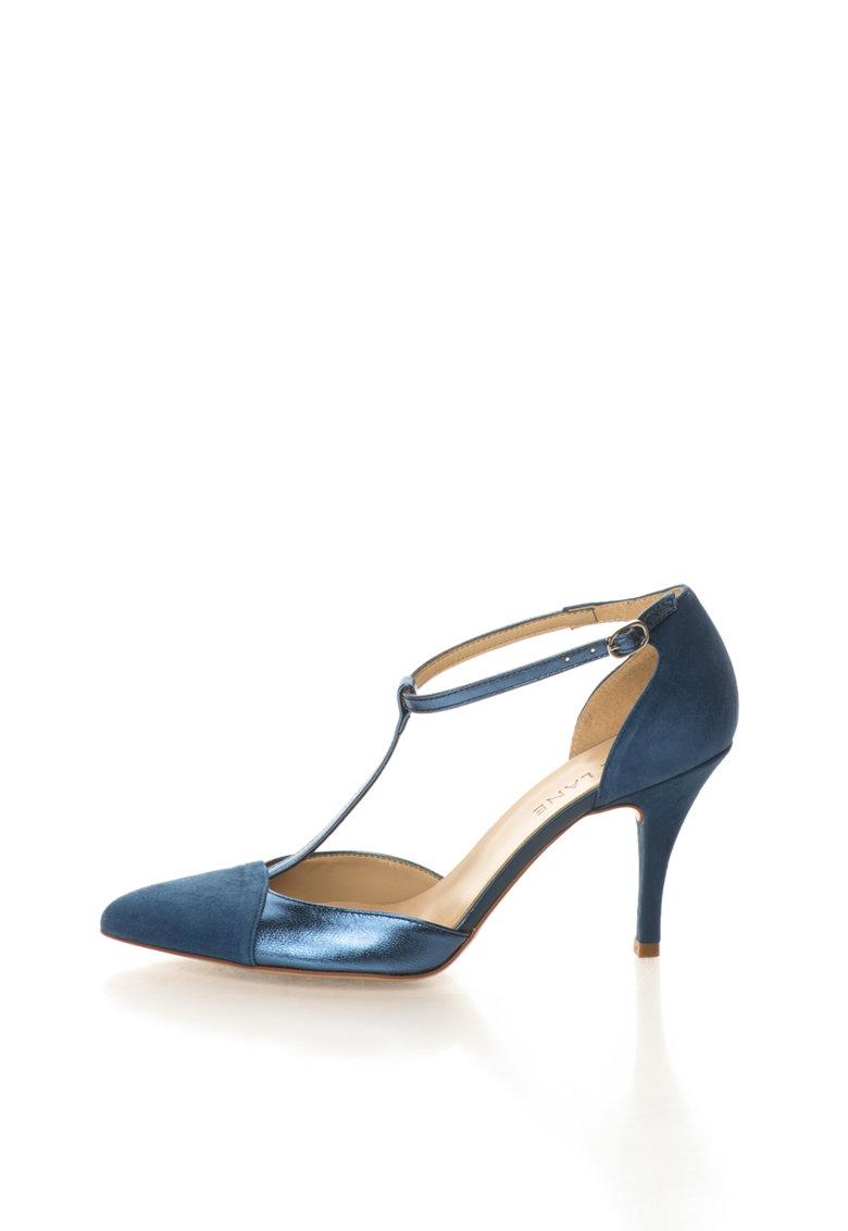 Zee Lane Pantofi albastru mineral de piele si piele intoarsa cu bareta T