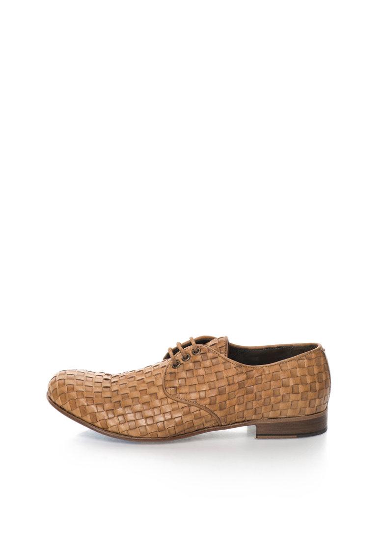 Zee Lane Collection Pantofi maro de piele cu design tesut Papua