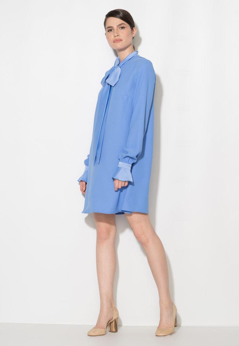 Zee Lane Collection Rochie bleu cu croiala in A si maneci lungi