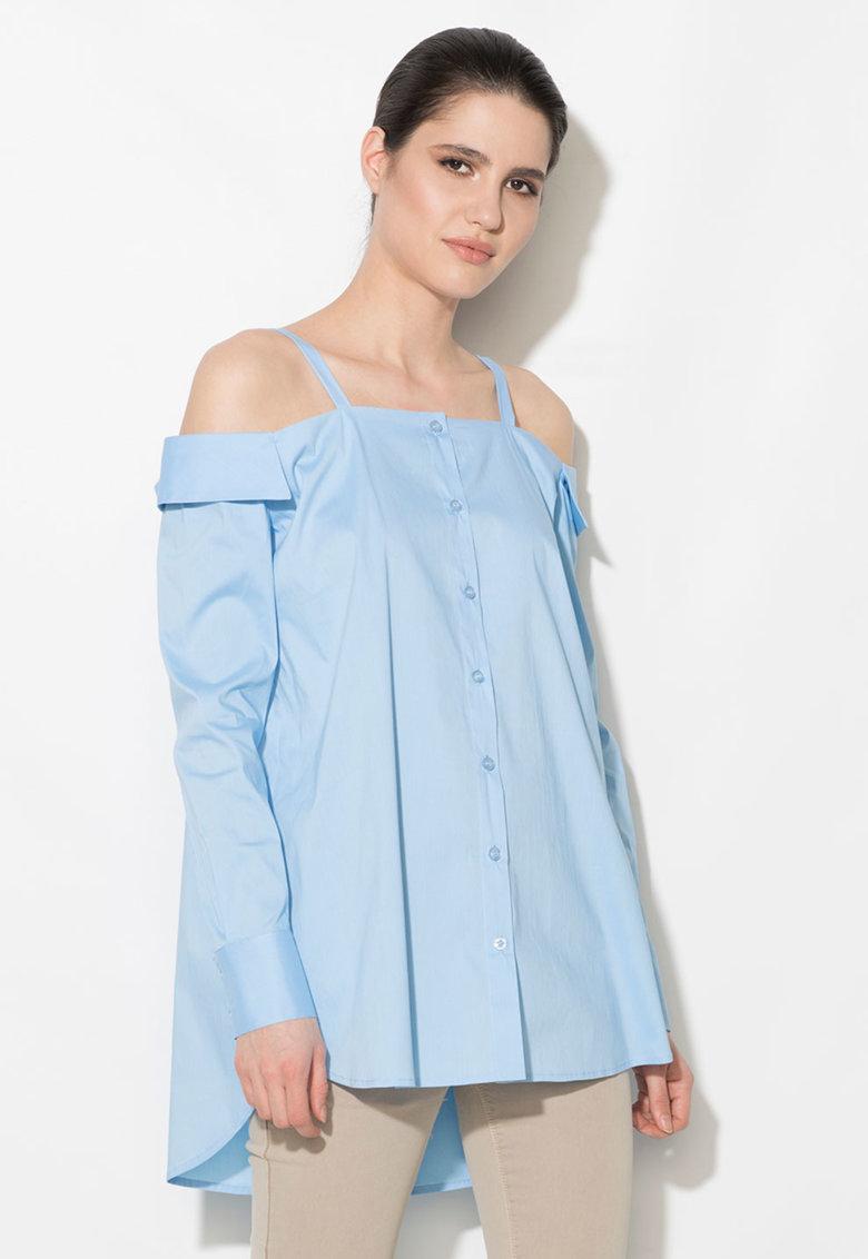 Camasa albastru azur cu decolteu pe uneri