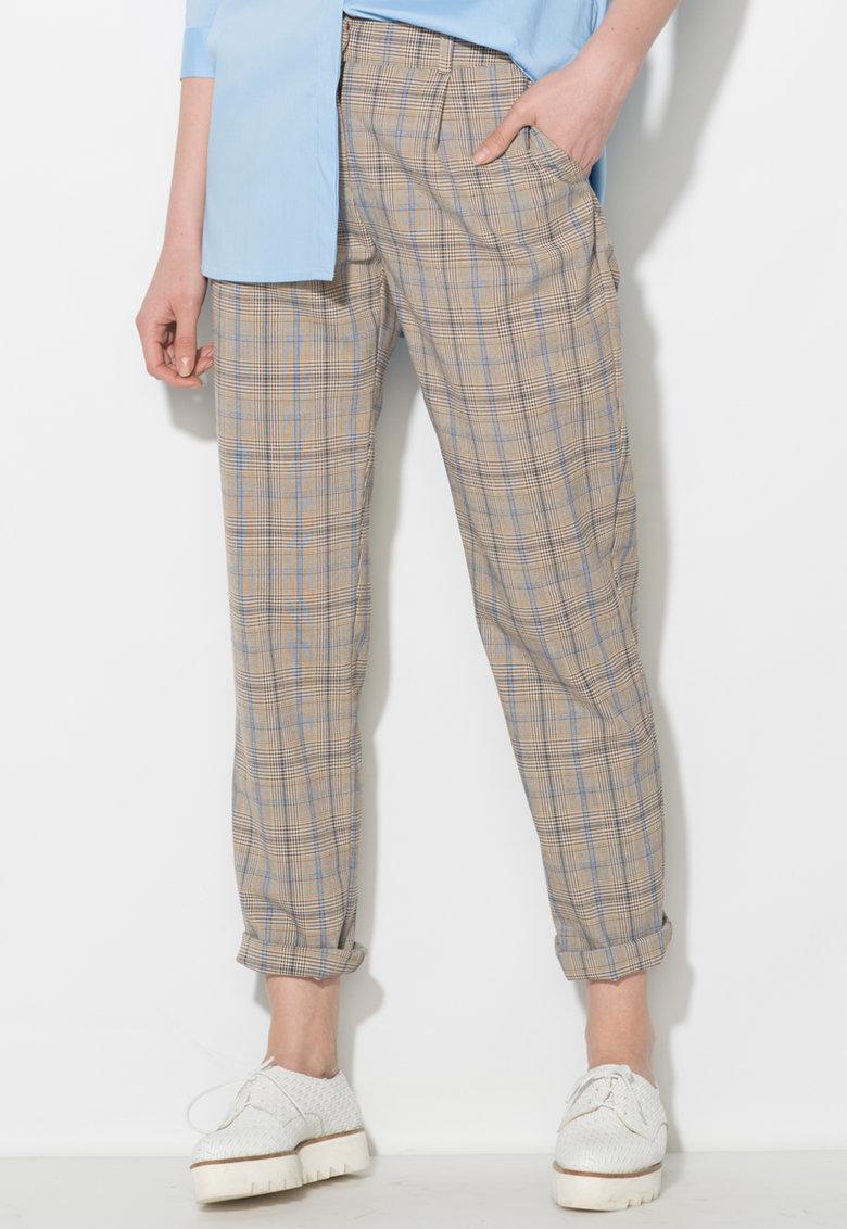 Zee Lane Denim Pantaloni gri cu albastru si model tartan