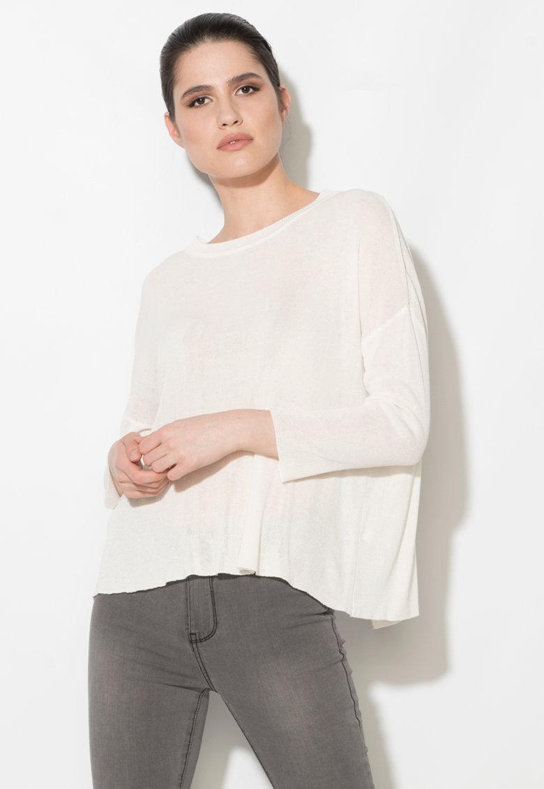 Zee Lane Denim Bluza alb fildes cu partea din spate suprapusa