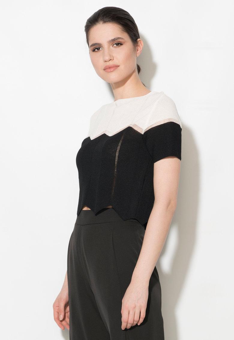 Bluza crop negru si alb cu insertie transparenta de la Zee Lane Denim