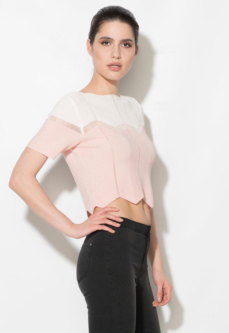Zee Lane Denim Bluza crop roz deschis si alb cu insertie transparenta