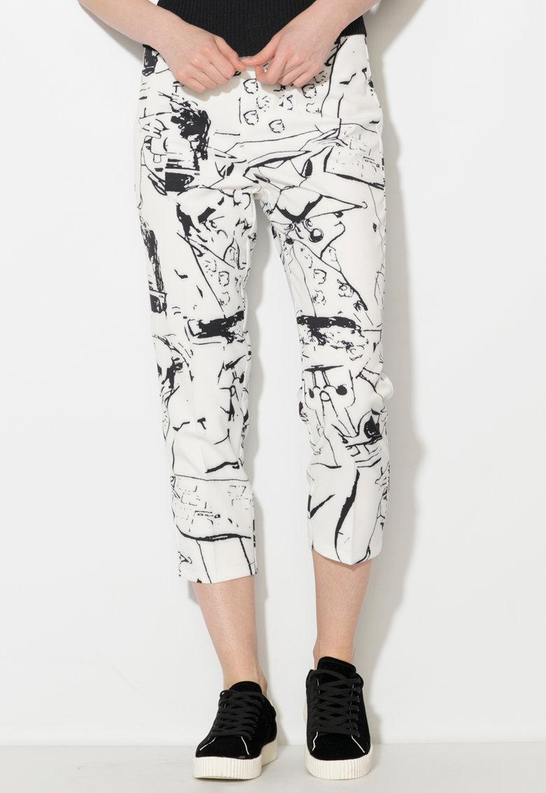 Zee Lane Denim Pantaloni capri alb prafuit cu negru
