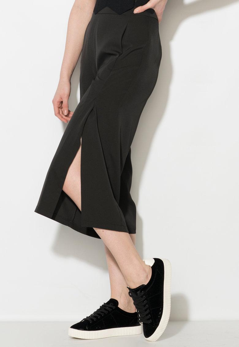 Pantaloni culotte negri cu slituri