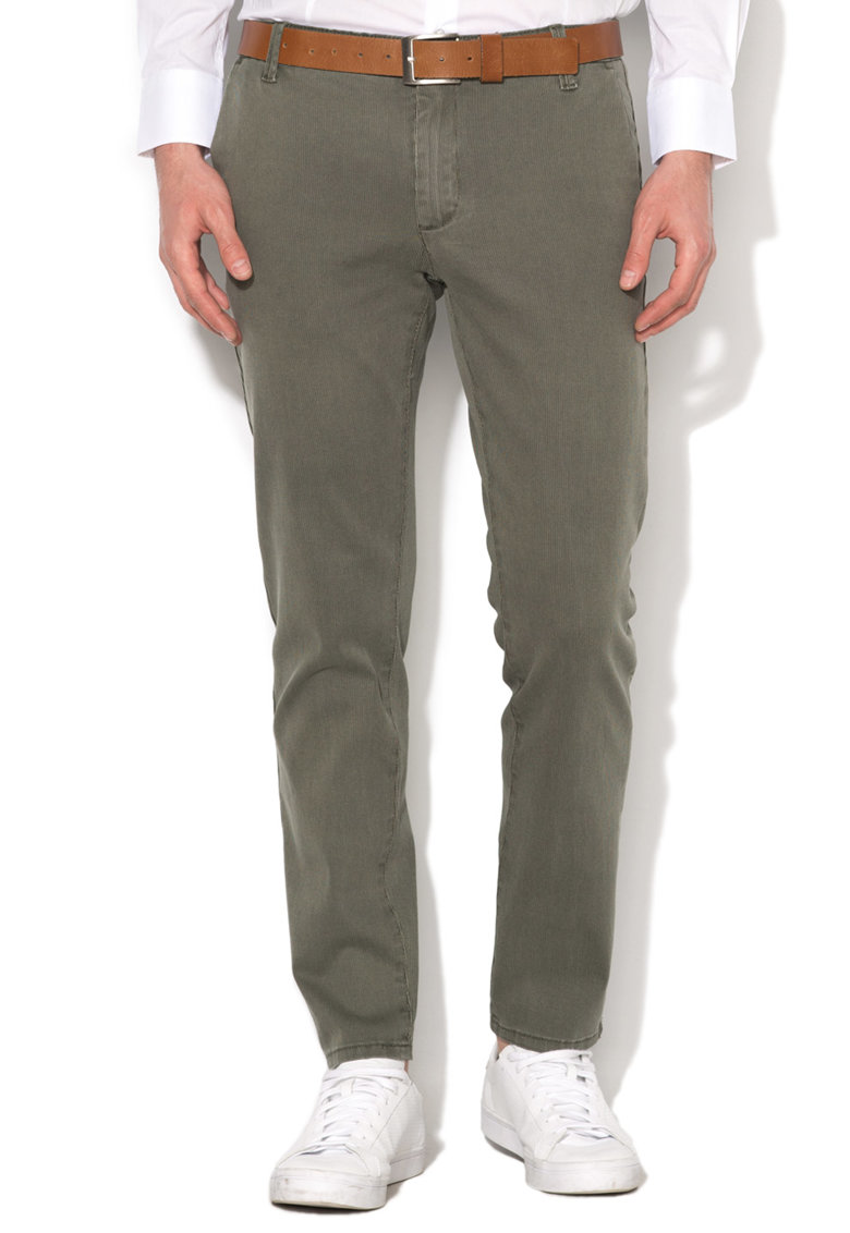 Zee Lane Denim Pantaloni chino verde oliv inchis in dungi