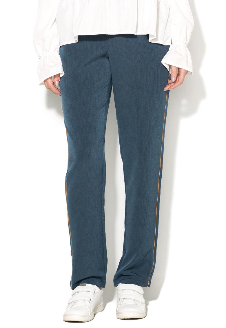 Pantaloni albastru petrol cu garnituri galben sofran Sana