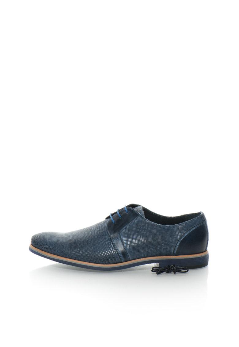 Pantofi derby albastru inchis de piele de la Zee Lane Collection
