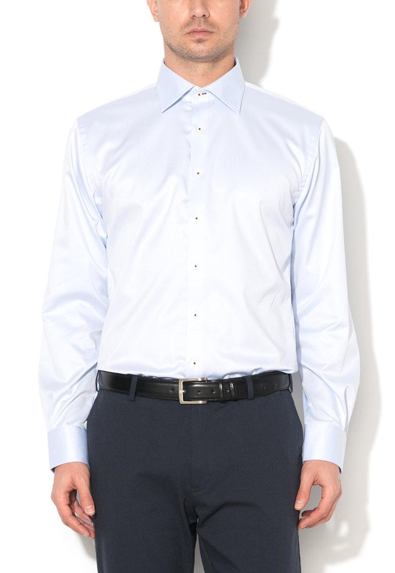 Vincenzo Boretti Camasa slim fit albastru azur cu garnituri in carouri