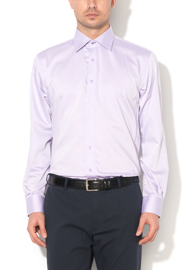 Camasa slim fit lila cu garnitura in carouri