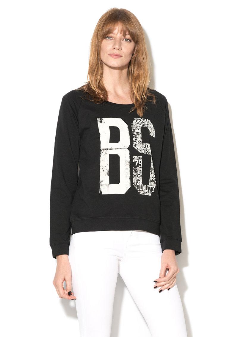 Big Star Bluza sport negru cu alb si imprimeu Sisoda
