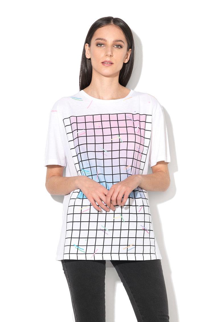 Diesel Tricou alb cu imprimeu plasa Rachel