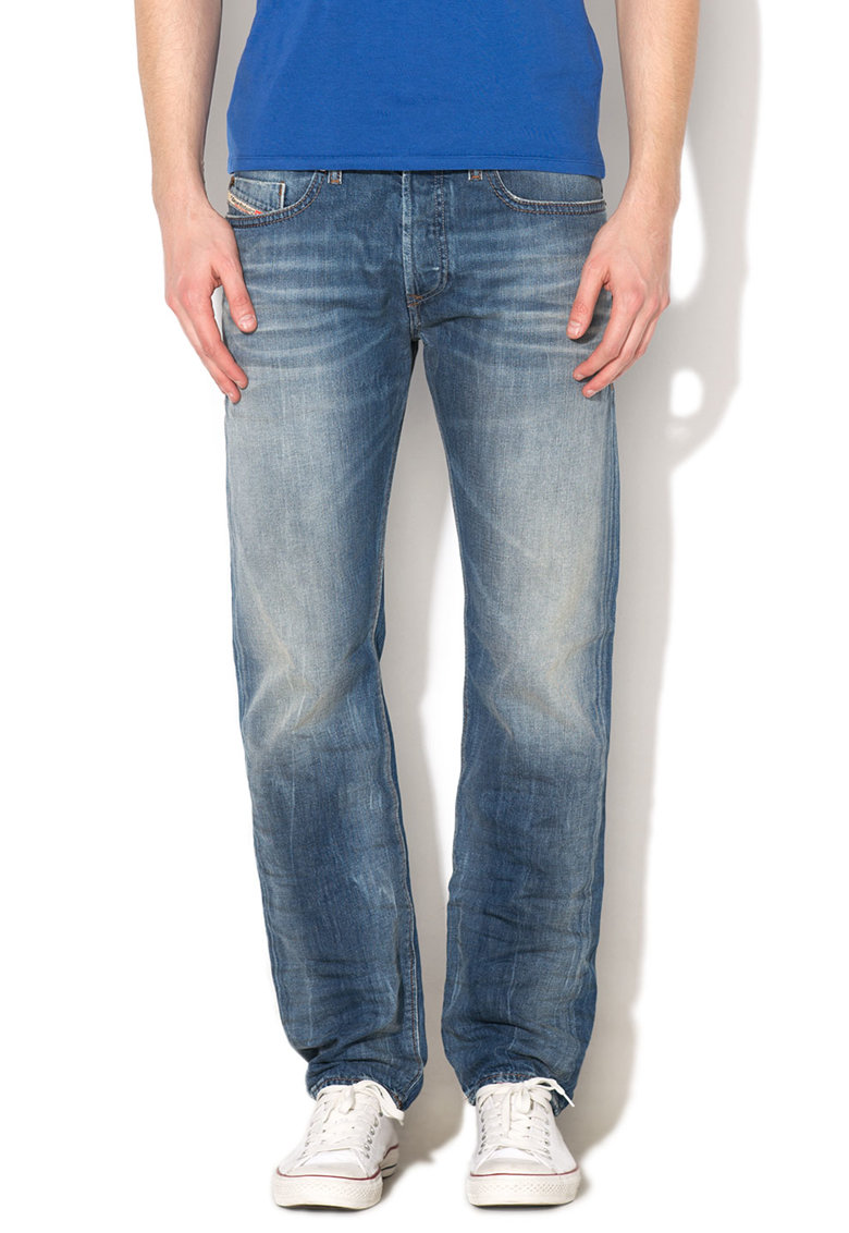 Diesel Blugi conici slim fit bleu cu aspect decolorat Buster