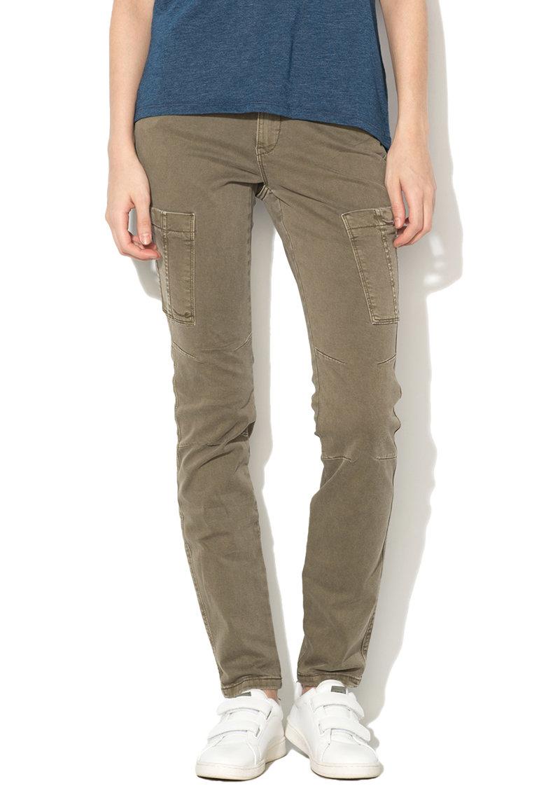 Pantaloni cargo skinny kaki