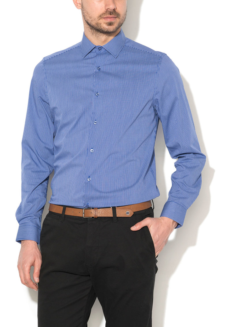 Zee Lane Denim Camasa slim fit albastru royal cu alb si model plasa