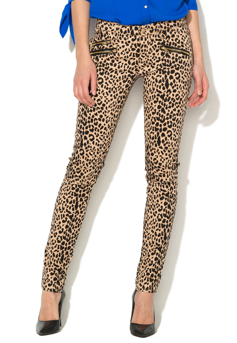 Juicy Couture Pantaloni bej cu negru si animal print
