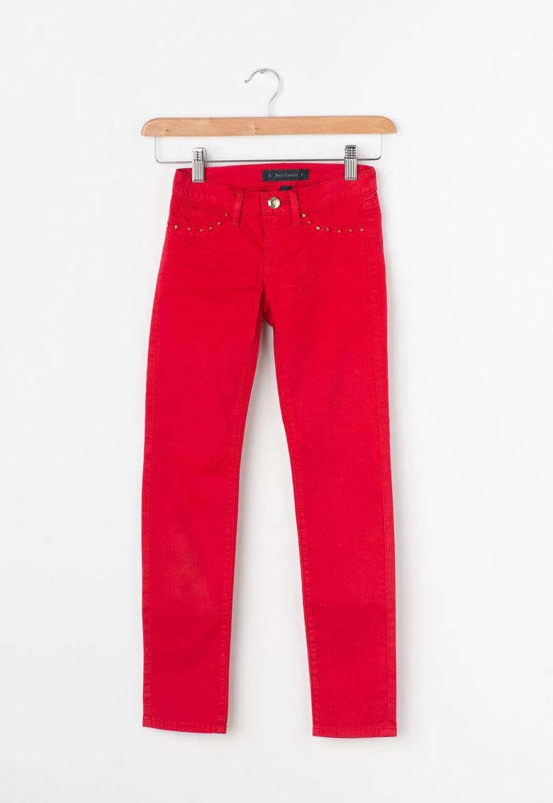 Pantaloni Skinny Rosii Cu Tinte