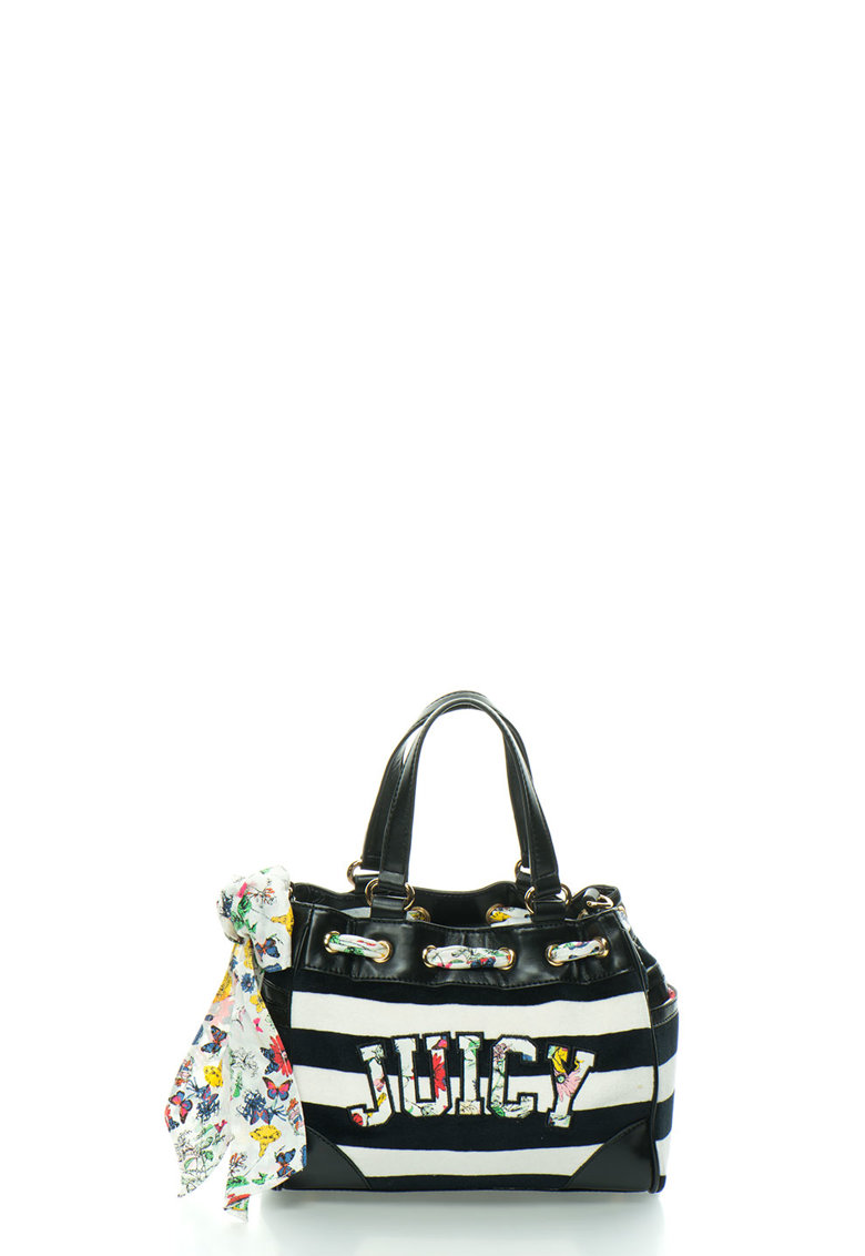 Juicy Couture Geanta bucket negru cu alb in dungi