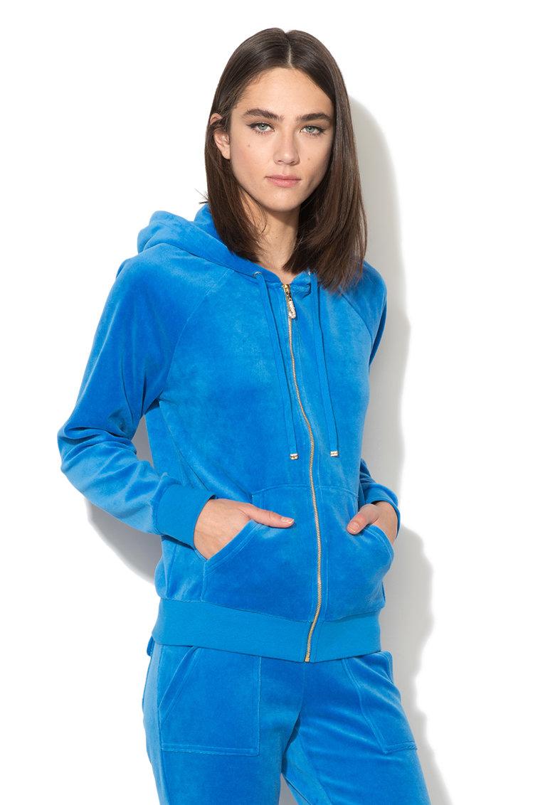 Juicy Couture Hanorac albastru cu fermoar si croiala lejera Summer Rain