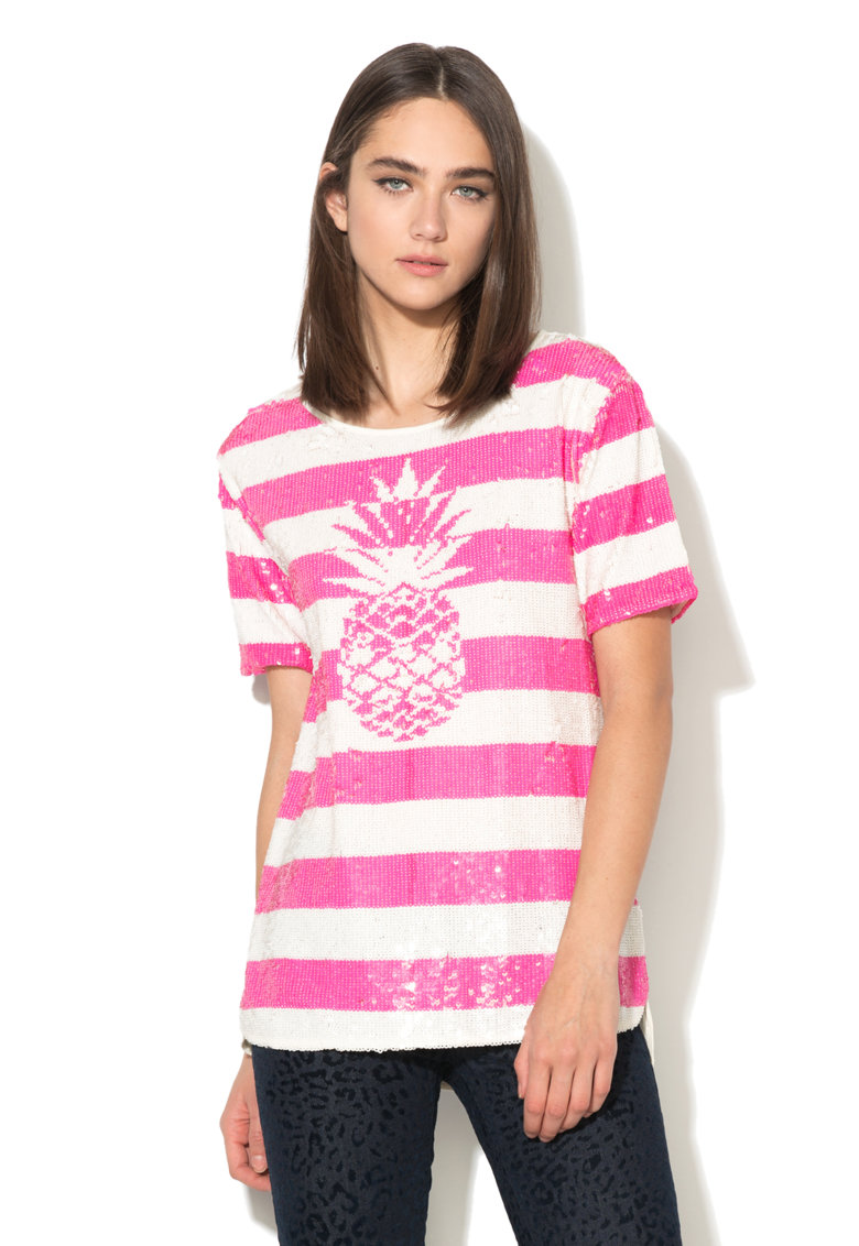 Juicy Couture Tricou roz cu alb si paiete