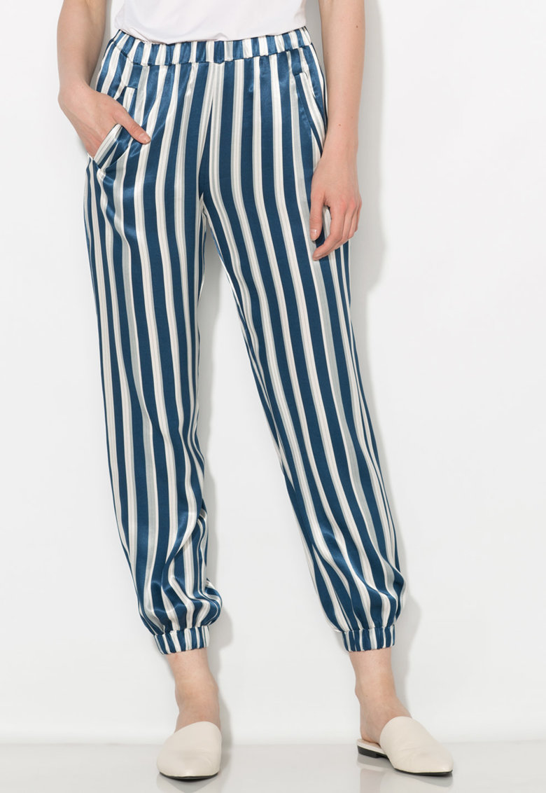 Zee Lane Collection Pantaloni matasosi albastru inchis cu alb in dungi