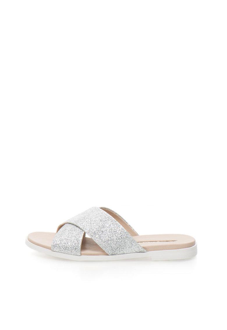 Papuci argintii stralucitori