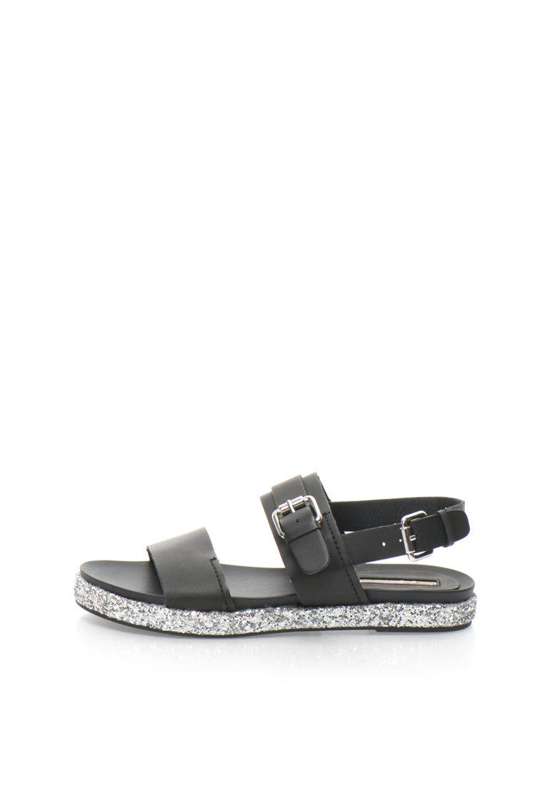 Buffalo Sandale negre cu particule stralucitoare argintii