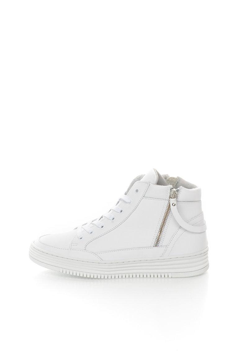 Bullboxer Pantofi sport mid-high albi de piele