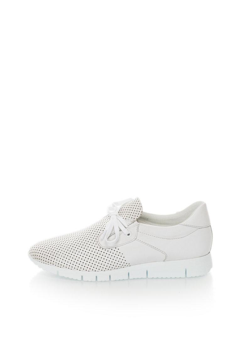 Bullboxer Pantofi sport albi de piele cu perforatii decorative