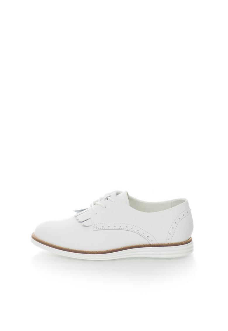 Bullboxer Pantofi derby albi de piele cu franjuri