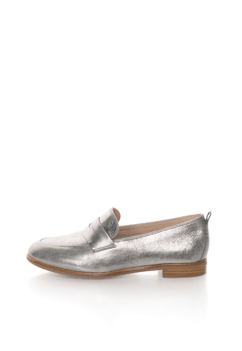 Clarks Pantofi loafer penny argintii de piele Alania Belle