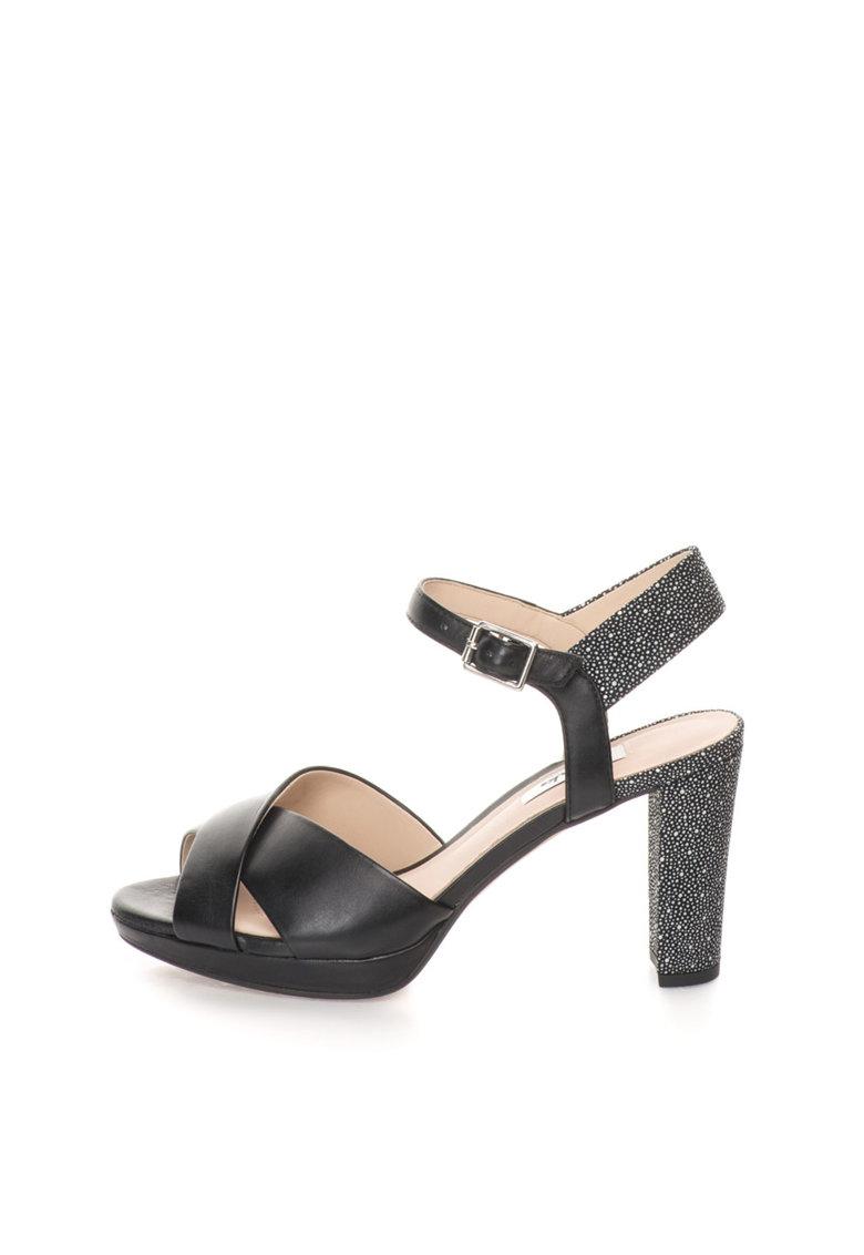 Clarks Sandale negre de piele cu buline Kendra Petal