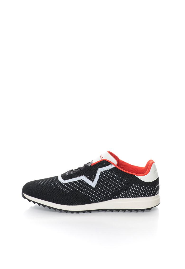 Pantofi sport negru si alb cu accente rosii Swift de la Diesel