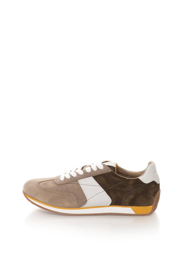 Geox Pantofi sport in nuante de maro de piele intoarsa Vinto