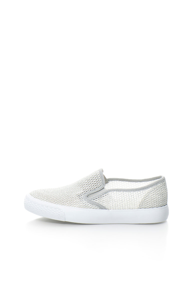 Oakoui Pantofi slip-on argintii de plasa