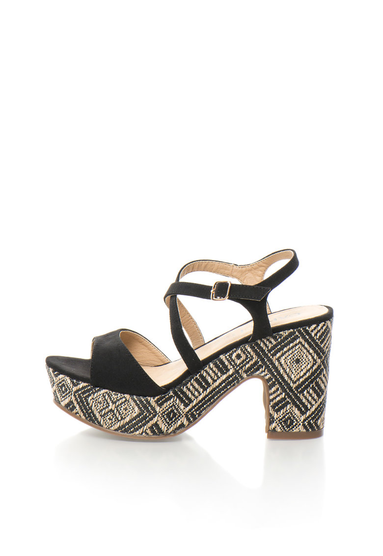 Oakoui Sandale negre cu toc masiv Alcantara