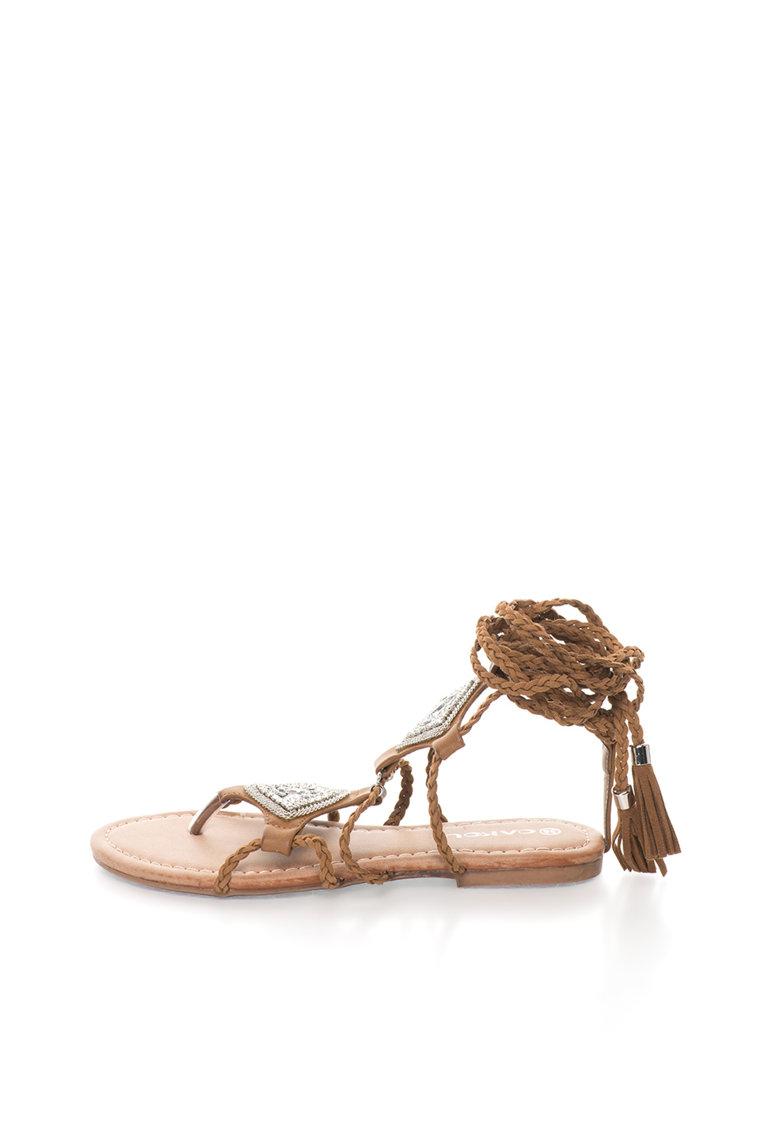Sandale infasurabile maro cu snur impletit Catia Oakoui