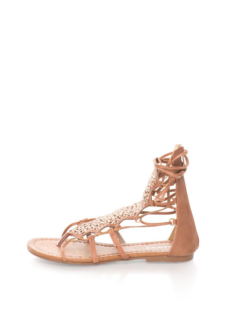 Oakoui – Sandale gladiator maro cu strasuri Catia CATIA-1-CUOIO
