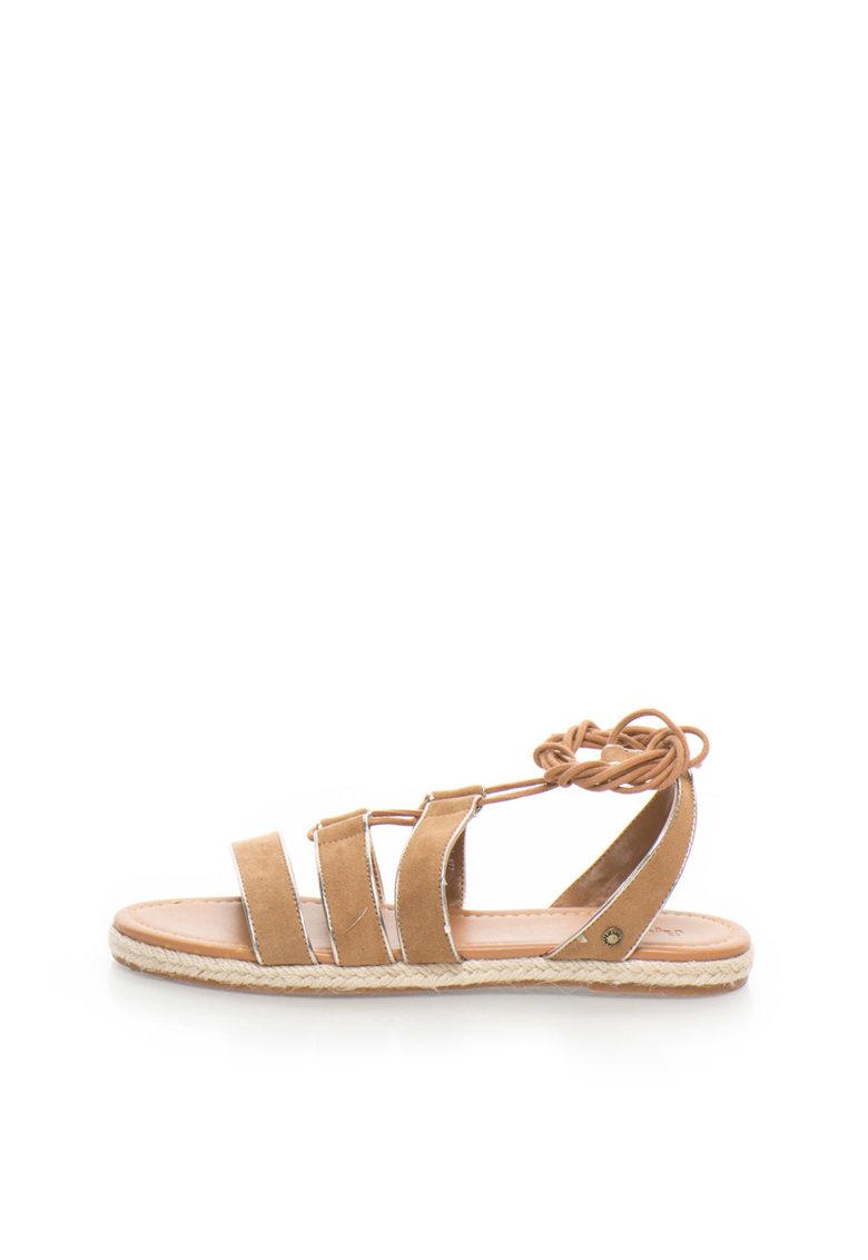 Sandale de piele intoarsa sintetica maro camel cu siret Venize