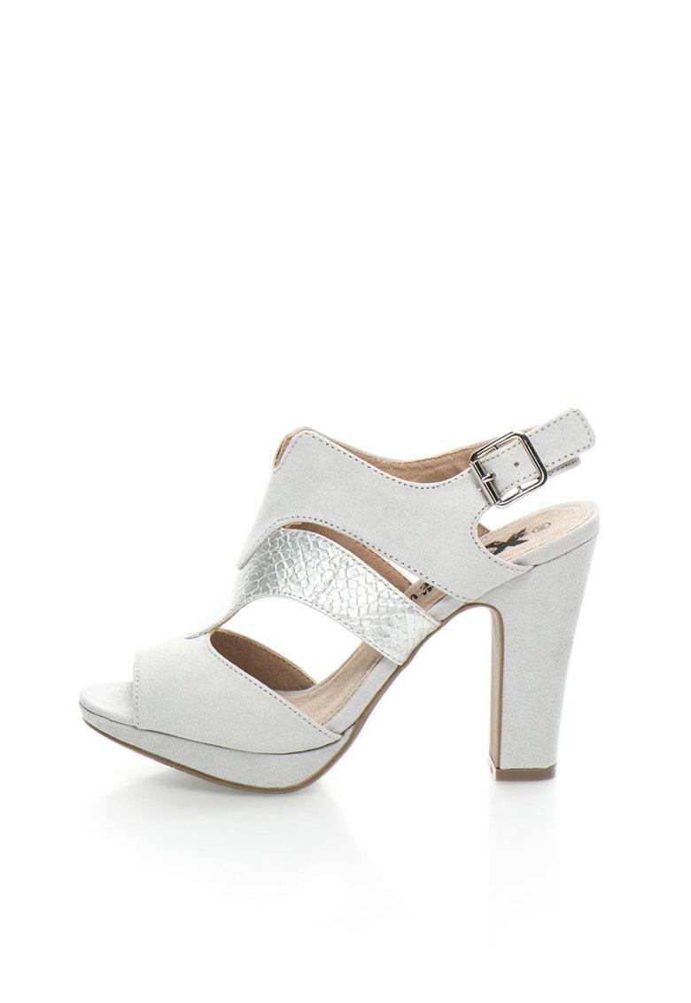 XTI Sandale gri deschis cu insertie argintie texturata