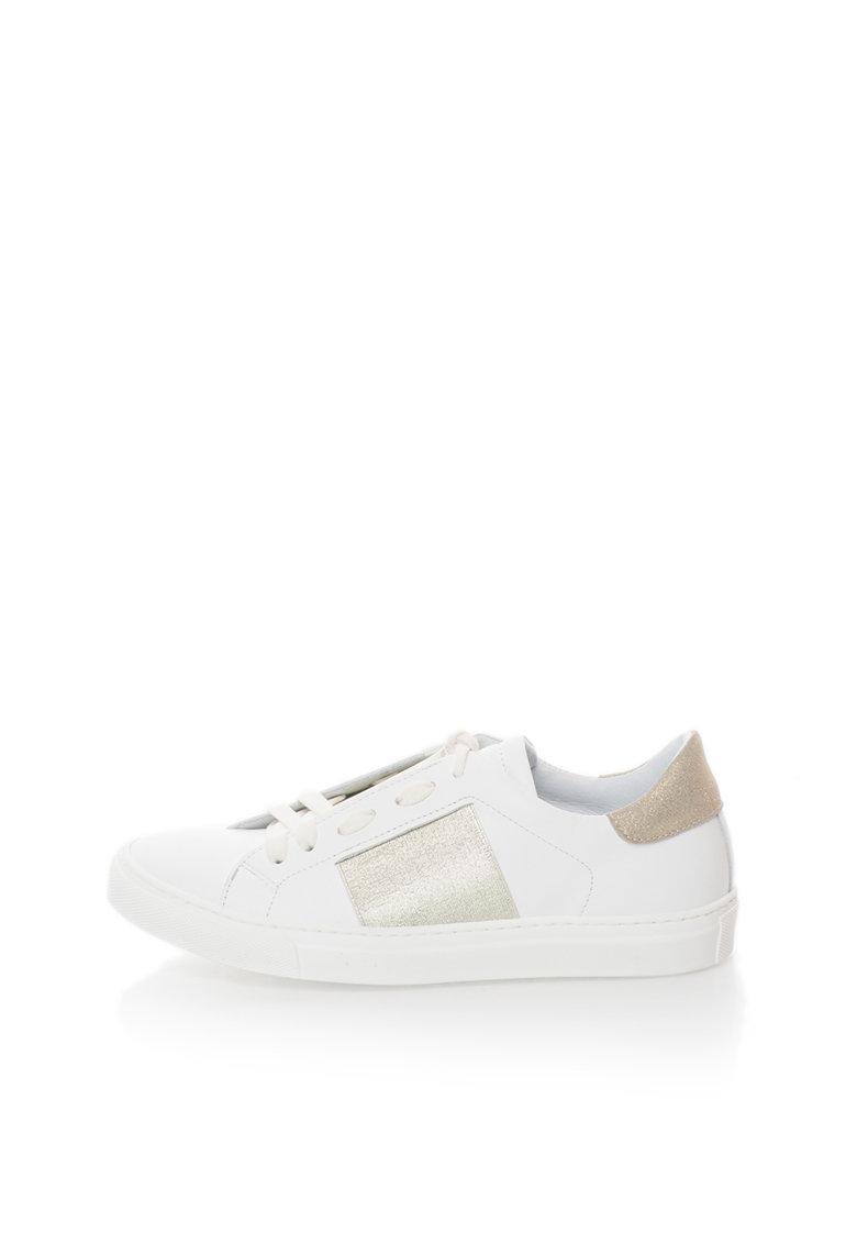Zee Lane Pantofi sport albi de piele cu garnituri aurii