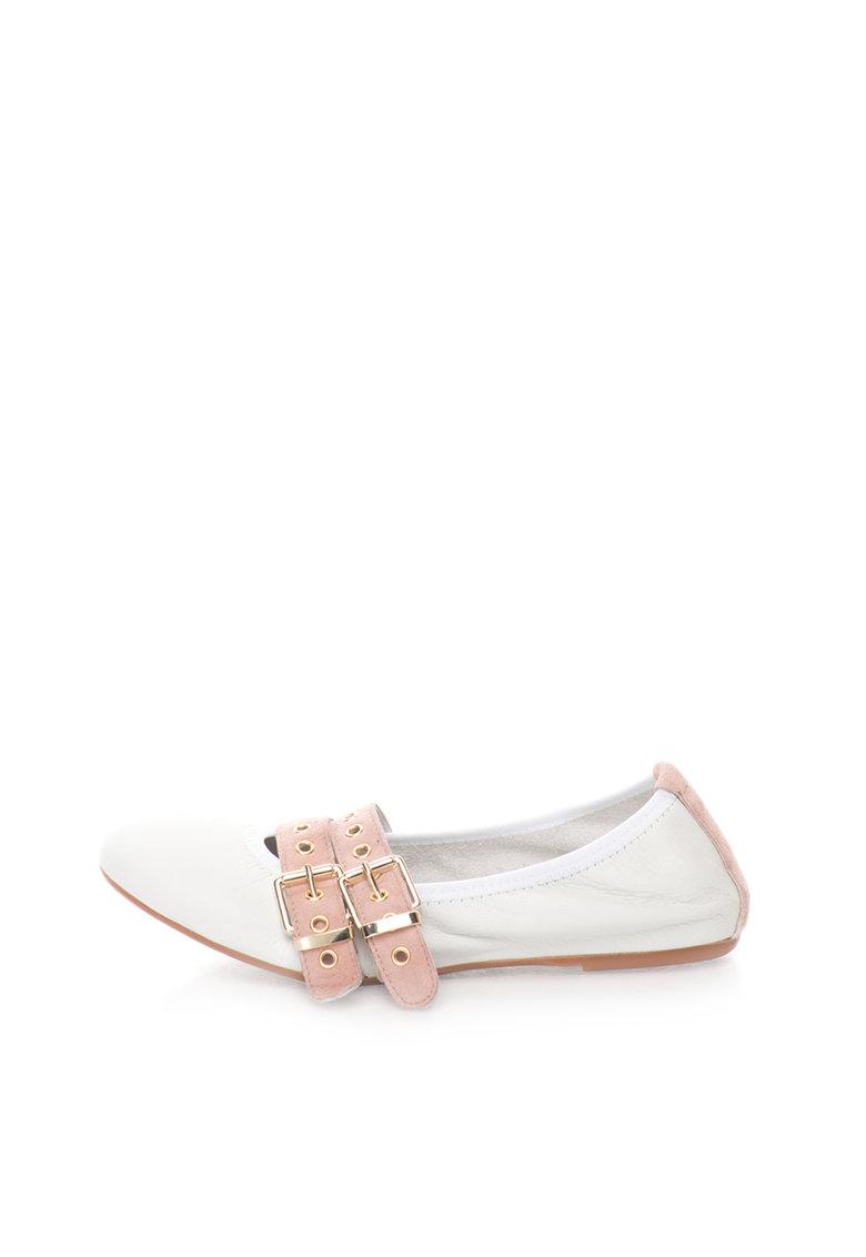 Zee Lane Balerini alb cu roz prafuit de piele cu piele intoarsa Milva