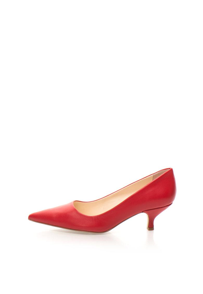 Pantofi rosii de piele cu toc kitten Only Zee Lane