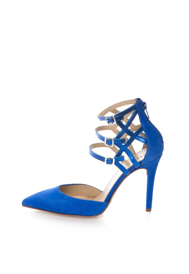 Pantofi albastru royal de piele intoarsa si piele cu barete