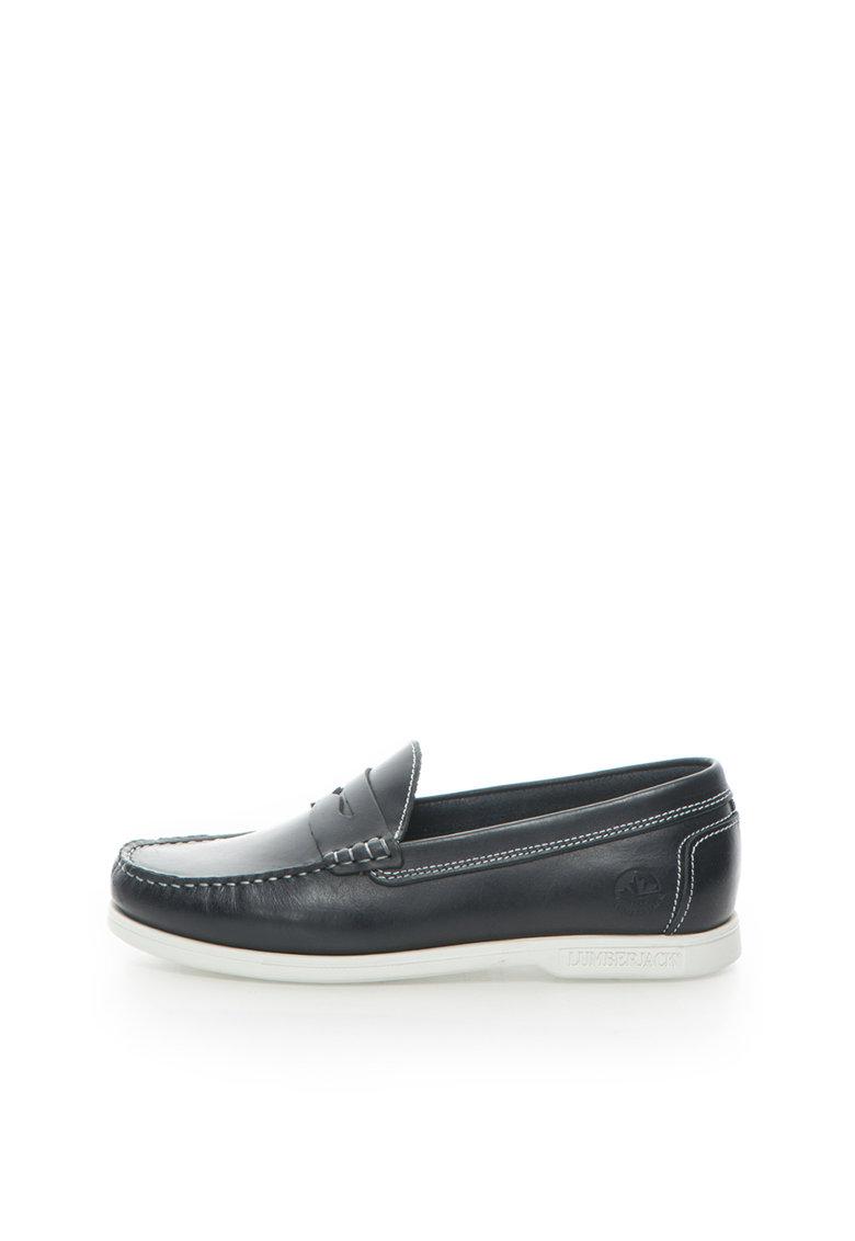 Pantofi loafer bleumarin inchis de piele Navigator de la Lumberjack
